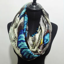 Visual Axles Silk Infinity Scarf New Fashion Big Butterfly Pattern Printing Snood Ring Scarfs For Women/Ladies(China)