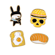Evil Bad Rabbit Breakfast Bread Fried Egg Hamburger on Toast Skull Enamel For Women Men Girl Badge Fashion Food Jewelry Gifts