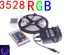 RGB 3528SMD 300LEDs Non-Waterproof LED Strip Light 5m/roll+Power Adapter,only RGB / Changeable with 24Keys IR Remote