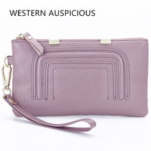 WESTERN AUSPICIOUS Lady Purse Cow Leather Wallet Women Sweet Large Capacity Female Small Bags Christmas Gift(China)