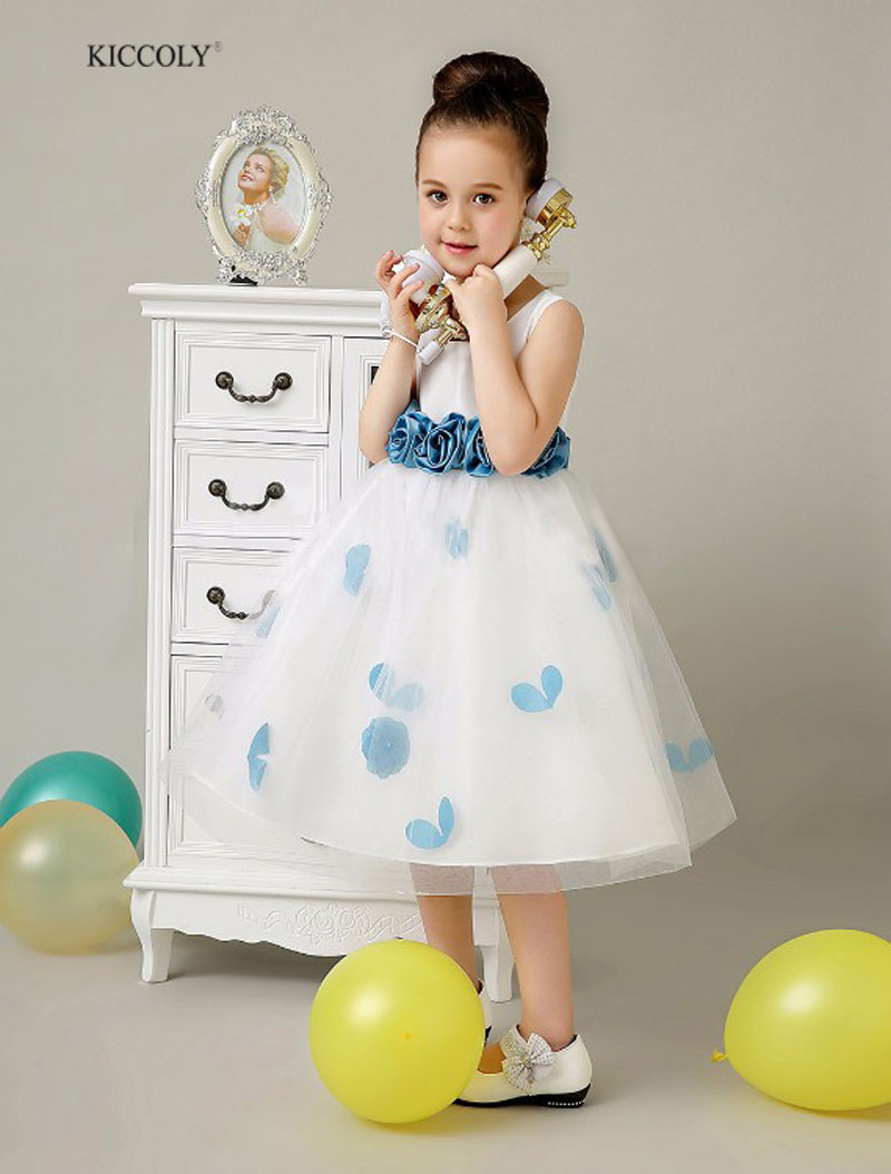 2016 New flower girl dresses for wedding pageant Party kid Dresses Princess Children clothing With 3D Flower Bow<br>