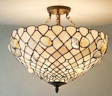Tiffany stained glass natural conch Garden Restaurant pendant light bedroom study cloakroom reverse hanging PENDANT lamp