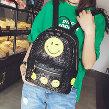 2016 New Arrival Women All-match Bag PU Leather Sequins Backpack Girls Small Travel Princess Bling Backpacks With Smile