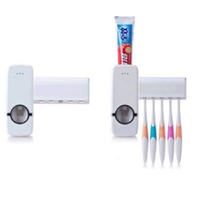 1pc Creative Health 5 Toothbrush Holder+Automatic Toothpaste Dispenser Set Wall Mount Stand Toothbrush Family Set(China)