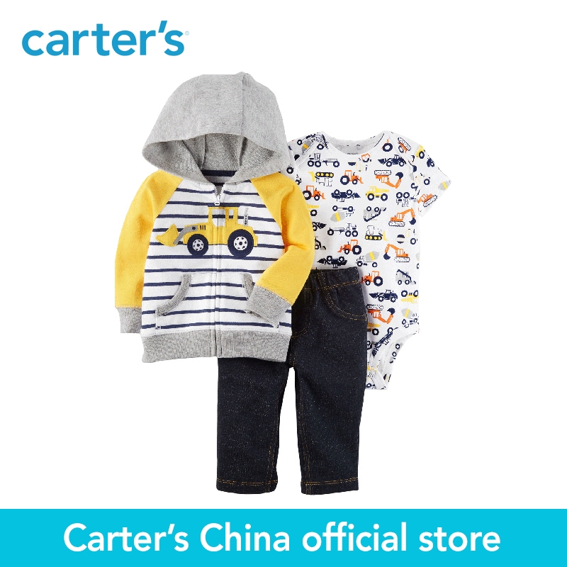 Carters 3-Piece baby children kids clothing Boy Spring &amp; Fall Embroidered Construction Truck Little Jacket Set 121I379<br>