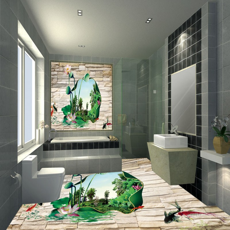 Free shipping high quality photo sticker kitchen porch decoration HD 3D lotus non-slip wear floor wallpaper mural<br>