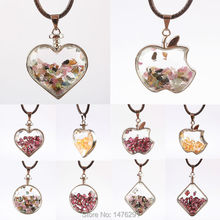32X32MM Tourmaline Garnet Chip Beads Heart  Coin Apple Clear Crystal Glass Box Pendant 1PCS