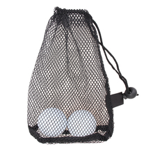 Black Nylon Mesh Net Bag Pouch Golf Tennis 15 Balls Holder Hold Ball Storage Closure Training Aid