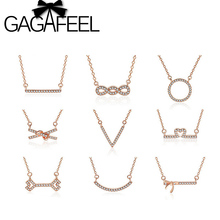 Rose Gold Fashion Design Necklace 925 Sterling Silver Pendant Necklace AAA CZ Crystal Micropave Necklace For Women CN0048