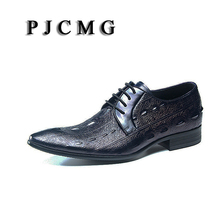 PJCMG New Fashion Black/Blue Spring/Autumn Lace-Up Pointed Toe Crocodile Pattern Genuine Leather Flat Man Wedding Dress Shoes