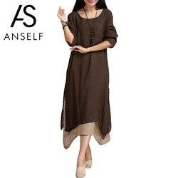 Anself 5XL плюс Размер весеннее Макси платья больших размеров винтажное с длинным рукавом женское хлопковое длинное льняное платье женское пов...