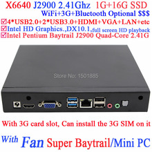 Hot new products for 2015 Linux mini pc Intel Pentium Baytrail J2900 Quad Core with 3G card slot Windows 7 pc 1G RAM 16G SSD