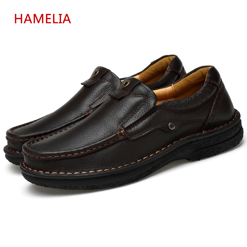 Hamelia Big size 49 Genuine Leather Men Winter Casual Shoes Black Cow Leather Shoes Slip On lace up Men lazy Loafers Flats <br>