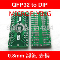 MICROFLYING QFP32 turn DIP32 QFP32 to DIP32 With Grounding Plate TQFP LQFP 0.8MM Pitch IC adapter Socket Adapter plate PCB