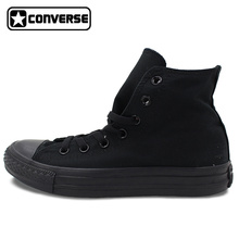 Custom Hand Painted Shoes ALL BLACK Converse All Star High Top Canvas Sneakers Price Varies with Design(China)
