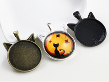 New Fashion 5pcs 25mm Inner Size Black and Bright Silver / Bronze plated Cat Style Cabochon Base Setting Charms Pendant
