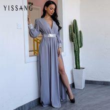 Yissang New Arrival Maxi Women Dress Summer Sexy High Waist Split V Neck  Chiffon Dress Party Long Elegant Dresses Vestidos 9fae677681dd