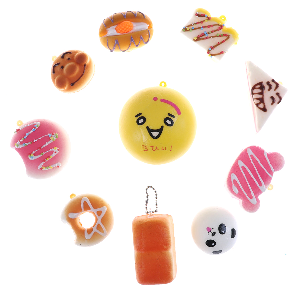 10PCS Random Squishy Panda Bread  Slow Rising Cute Phone Straps Cake Buns Pendant Toy Kid Squeeze Scented Charms