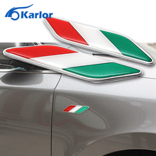 Car Styling 1 Pair 3D Aluminum Italian Flag Fender Emblem Badge Car Stickers For Fiat Alfa Romeo 159 147 156 Abarth Accessories(China)