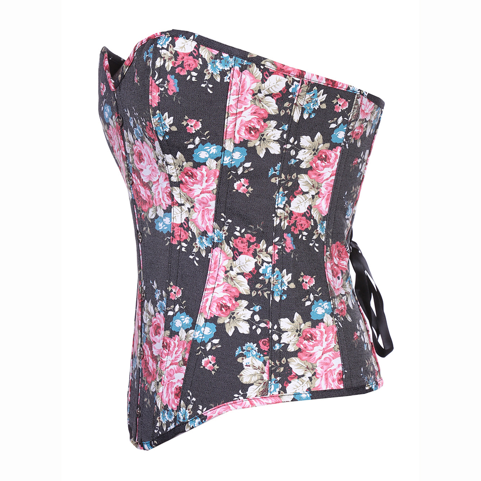 women corsets bustiers tops print floral satin lingerie vintage strapless overbust corset pattern corselet sexy lady body shaper