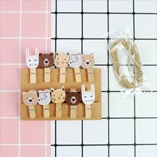 10 pcs/pack Animal Hipay cartoon photo wooden clip decoration clip Clothespin Craft Clips Office Binding Supplies with hemp(China)