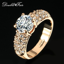 Double Fair Engagement Wedding Rings Cubic Zirconia Silver/Rose Gold Color CZ Stone Ring Jewelry For Women anel Wholesale DFR105(China)