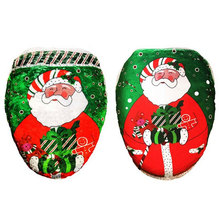 Christmas Xmas Toilet Case Set Seat Cover Rug Mat Tank Lip Decorations