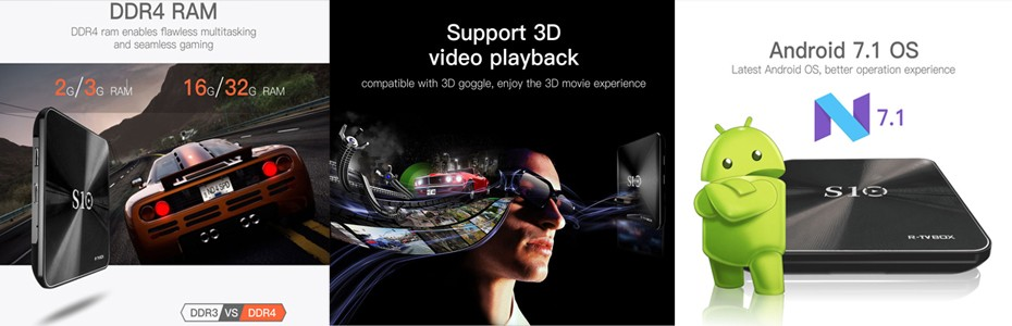 [Original]R-TV BOX PRO Android 7.1 2/3GB RAM DDR4 16/32GB Android Tv Box KODI 17.1 BT4.0 Amlogic S912 64bit Octacore  Pk Xiaomi