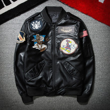 2017 New Fashion Black PU Embroidery Pilot Mens Leather Jacket