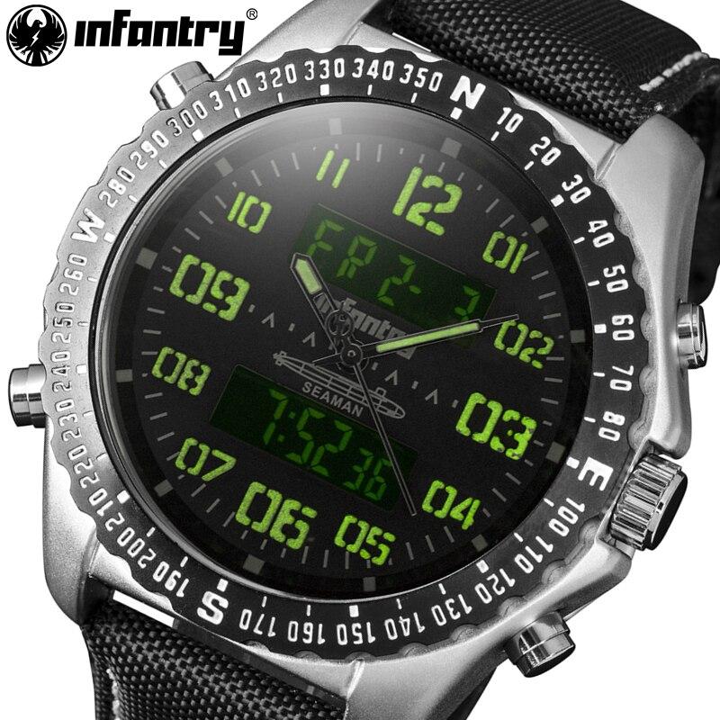 INFANTRY Mens Watches Chronograph Top Brand 2017 Luxury LED Display Clock Waterproof Durable Nylon Sports Man Quartz Wristwatch<br>