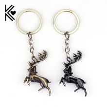 Drop Shipping Game of thrones House Baratheon Keychain A Song of Ice and Fire Metal Deer Logo Key Rings For Gift Chaveiro(China)