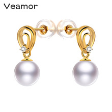 VEAMOR 18k Pearl Earrings Freshwater Pearl & Pure 18k Yellow Gold Earrings White/Pink/Purple Brand Jewelry 2017 New Fashion Gift(China)
