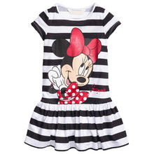2017 Summer Style Bébé Filles de mode coton Robes Minnie Mouse Robe Filles stripe Parti Robe Enfants Vêtements 2-7Y robes