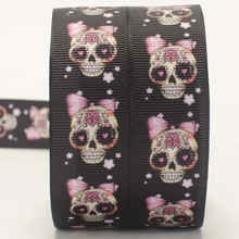 New sale 50 yards black girl skull pattern printed grosgrain ribbon DIY hairbow free shipping