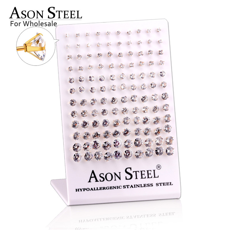 ASONSTEEL Stainless Steel Womens Cubic Zirconia Stud Earings for Women Tone Bling Party Brincos Femininos,60Pairs/Lot