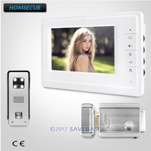 HOMSECUR 7inch Video Door phone System With 1 Monitor And 1 Camera + Electric Lock