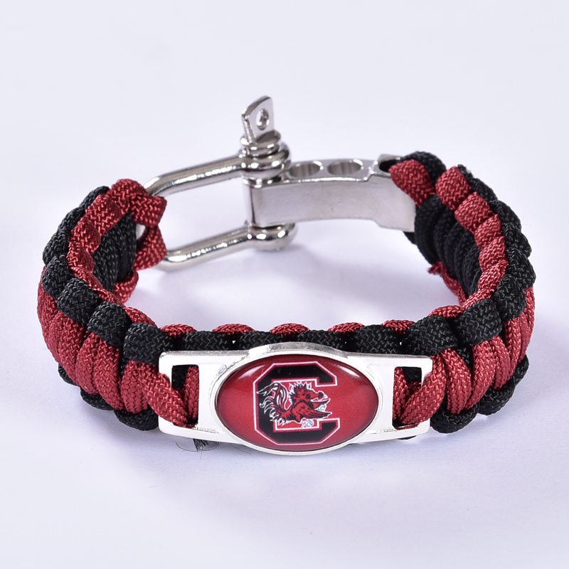 South Carolina Gamecocks Custom Paracord Bracelet NCAA College Football Bracelet Survival Bracelet, Drop Shipping! 6Pcs/lot!(China (Mainland))