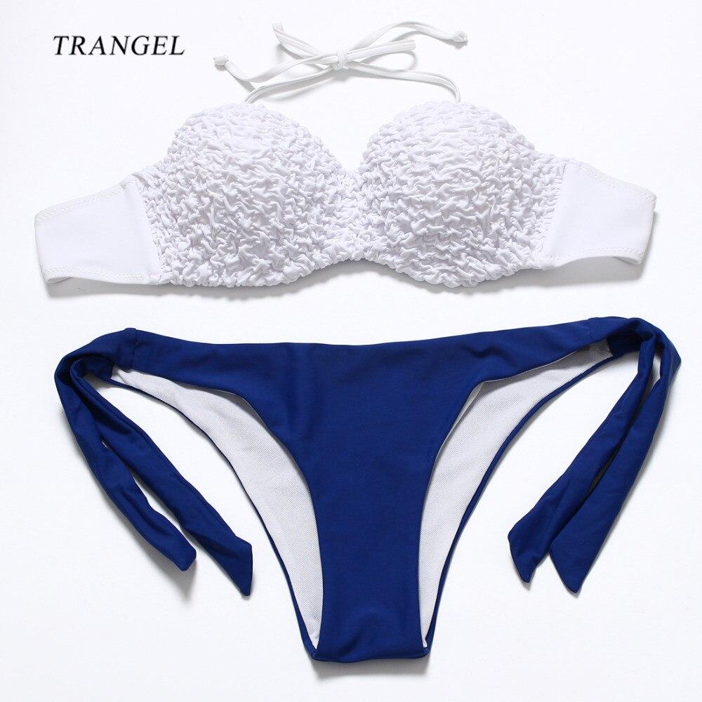 2016 New Flirty Padding Push Up Bikini Set Embossing Ruched Bandeau Women Swimwear Stylish Beach Cheeky Bath Suit Bottom 15<br><br>Aliexpress