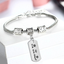 Live Love Adopt Dog Tag Heart Flower Paw Footprint Pendant Bracelets Bangle Family Women Men Jewelry Gifts Bijoux Bracelet Party