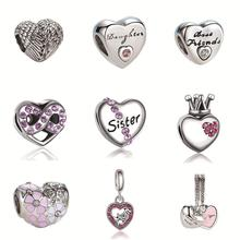 2017 Silver Plated Bead Angel Wings And kinds of Hollow Love Heart Charm Beads Fit Pandora Women Diy Bracelets Bangles Jewelry(China)