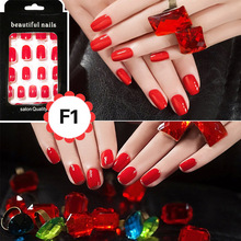 Buy 24pcs/set Fashion False Nails Purple Pink Black Red Short Design Fake Full Nail Tips Nail Art GLue for $1.78 in AliExpress store
