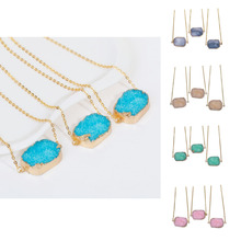 DoreenBeads Resin Druzy Necklace Link Cable Chain Gold color Blue /Green / Light Beige/ Pink / Gray Rectangle 45.5-47cm, 1 PC