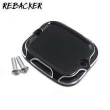 Motorcycle Front Brake Reservoir Master Cylinder Cover CNC For Harley Road King Gliding 01-07 Softail Dyna 96-15(China)