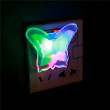 Creative Butterfly Night Light Energy Saving Lovely Color RGB Romantic Wall Light Night Lamp Decoration Bulb For Baby Bedroom