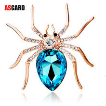 Fashion Jewelry Wholesale 2017 Insect Vintage High Quality Glass Crystal Spider Brooch Spyderco Pin For Women Costume Jewelry(China)