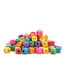 100Pcs/set Colourful Alphabet Letters Wood Bead Cube Square Loose Beads For Kids Learning Math Toys