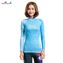Women's Long-Sleeve UPF 50+ Rashguard Blue UV Sun Protection Long Sleeve Top Shirts Skins Tee Rash Guard Compression Base Layer