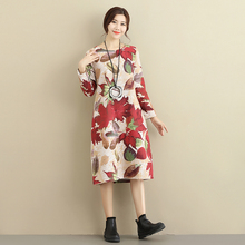 10 Colors 2017 Winter Dress Plus Size Women Elegant Vintage Warm O-neck Long Sleeve Flower Print Plus Velvet Cotton Linen Dress(China)