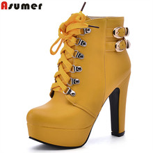 Asumer new fashion lace up ankle boots platform shoes woman high heels black solid autumn winter ankle boots buckle female shoes(China)
