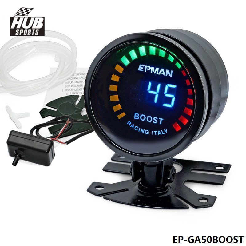 Hubsports-2015 New EPMAN racing 52mm Smoked LED PSI/BAR Turbo Boost Meter Gauge with Sensor For Toyota Starlet EP91 HU-GA50BOOST